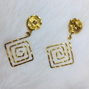 Gold Tone Hammered Clip On Earrings